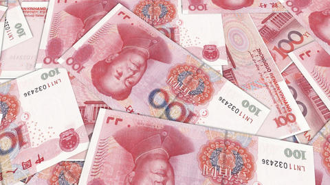 Bank Renminbi Rmb Yuan Chinese Money Banknote International Economy Currency stock footage