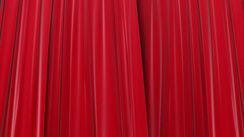 Zooming On Red Curtains, Opening And Closing 3d Animation, HD 1080, Green Screen stock footage