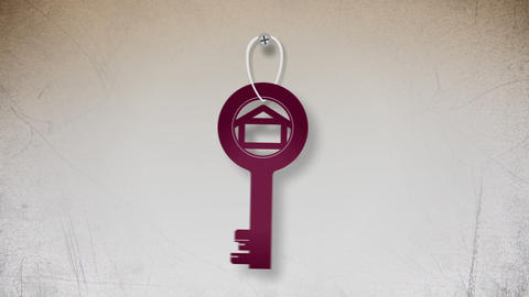 Key With House Symbol Flat Animation stock footage
