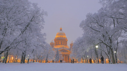 Soft Winter Evening View At Snowy Park And Isaakievskiy Sobor, Famous Cathedral stock footage