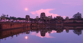 Twilight Angkor Wat Cambodia Ancient Civilization Temple stock footage