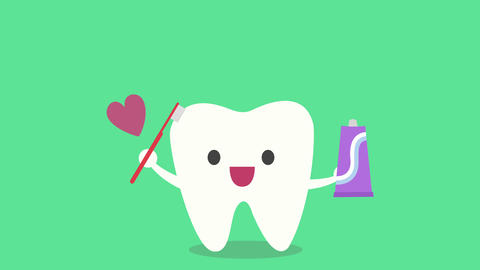 The Concept Of Taking Care Of The Teeth, Cute Cartoon Tooth Brushing Itself stock footage