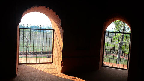 Slow pan shot of interior at Talatal ghar,Ahom kings architecture Footage
