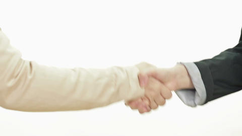 Two Woman Shaking Hands Profile stock footage