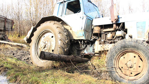 Old Tractor Got Stuck On The Roads stock footage