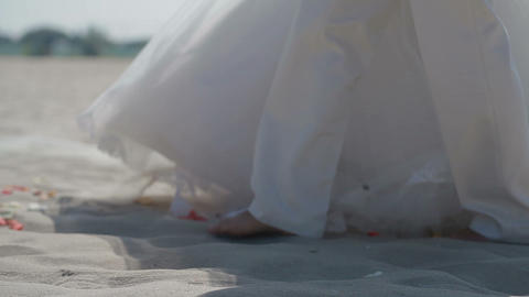 A Wedding Couple Walking On The Beach To The Altar stock footage