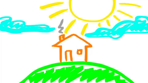 House child's drawing Animation