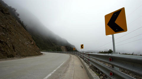 Mountian Road Misty Fog Dangers stock footage