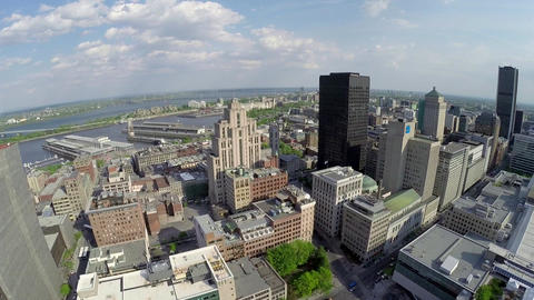 Aerial view of Montreal down town and Saint Lawrence River Footage