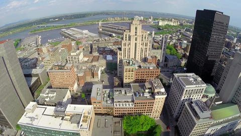 Centru 8 MAerial View Of Montreal Down Town, Old Port, And Saint Lawrence River stock footage