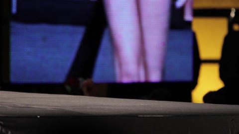Mannequin Legs Seen At A Fashion Parade On A Stage Located In The Center Of A To stock footage