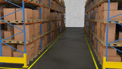 Interior Of Warehouse. Rows Of Shelves With Boxes stock footage