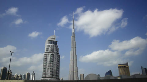 Soft Clouds Fly Over Burj Khalifa And Address Downtown Hotel, Time Lapse stock footage
