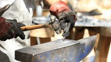 Blacksmith Hammer Hot Metal stock footage