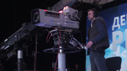 Cameraman With A Professional Camera Works In The TV Studio stock footage