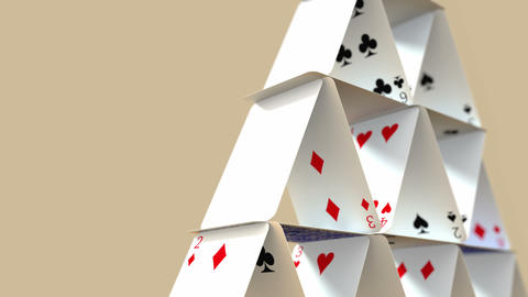 Falling House Of Cards With Alpha Matte 4K stock footage