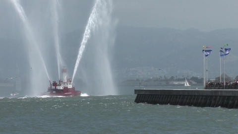 A Fire Fighting Boat In The San Francisco Bay Shooting Water 2 stock footage