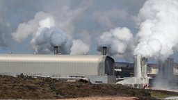 Polluting Factory In Iceland stock footage