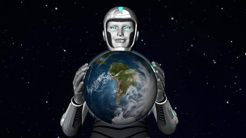 Cyborg Alien Holding Planet Earth stock footage