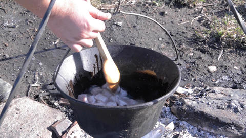 Chef Stir The Pot Put On The Fire Preparing A Delicious Stew 4 stock footage