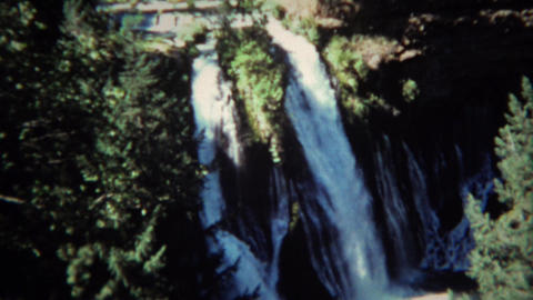 1971: Burney waterfall sign and cold majestic blue pools Footage