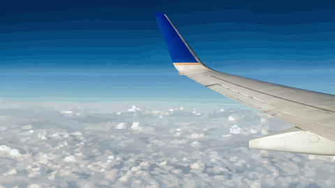 Airplane Over Cartoon Clouds And Sky stock footage