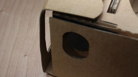 Cardboard Glasses For Virtual Reality Smartphone Accessories On Rotating Table 2 Footage