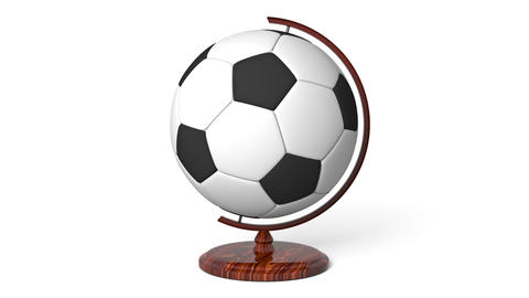 Soccer ball globe rotating, loop Animation