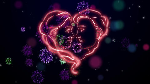 Two Red Faces On The Valentine Celebration, Dark Blue Bg, Loop stock footage