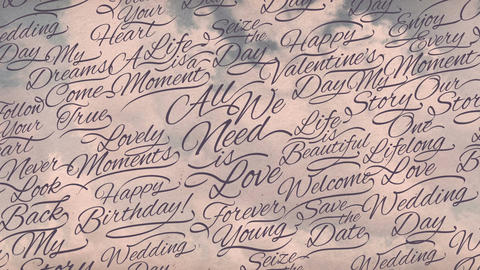Romantic Calligraphic Titles Background stock footage
