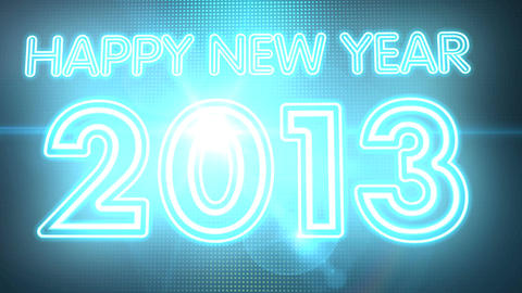 Happy New Year 2013 Neon Sign HD stock footage