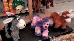 Greece The Aegean Sea Kos 050 Dancing Soft Toys In A Shop stock footage