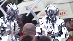 Actors Dressed In A Suit Of Mirrors Was Walking On The Street During A Festival  stock footage