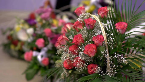 Baskets Of Roses Brought In Honor Couple 37 stock footage