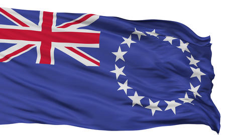 Isolated Waving National Flag Of Cook Islands stock footage