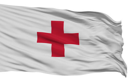 Isolated Waving Flag of Red Cross Animation