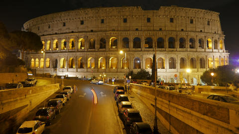 Colosseum At Night, Rome, Italy, Timelapse, 4k stock footage