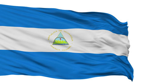 Isolated Waving National Flag Of Nicaragua stock footage