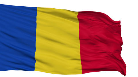 Isolated Waving National Flag of Romania Animation