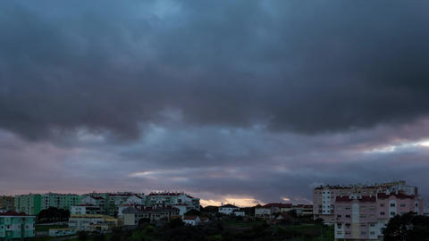 Dark Heavy Storm Clouds Over City, Timelapse stock footage