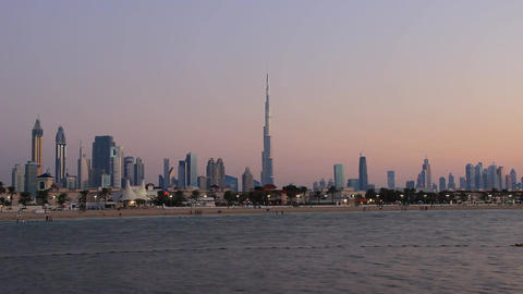 Dusk to darkness time lapse, majestic Dubai skyline from Jumeirah Open Beach Footage