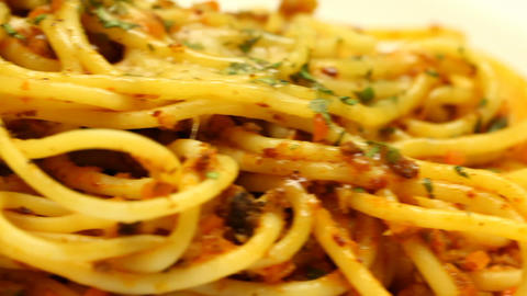 Spaghetti Bolognese stock footage