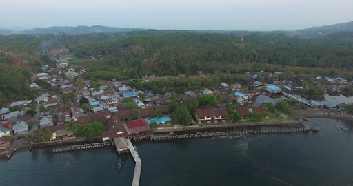 Aerial Of Landing Stage Of Resort stock footage
