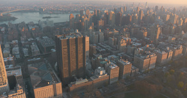 East Harlem And Upper East Side New York Helicopter Aerial At Sunset stock footage