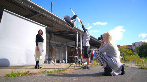 Open Air Fashion Photo Shooting With Blue Sky stock footage