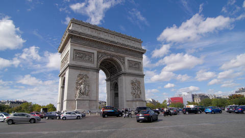 Arc De Triomphe And Blue Sky Pan stock footage