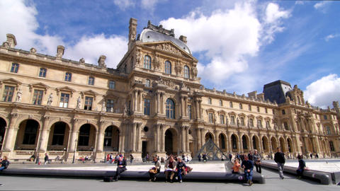 Louvre And Blue Sky Pan stock footage