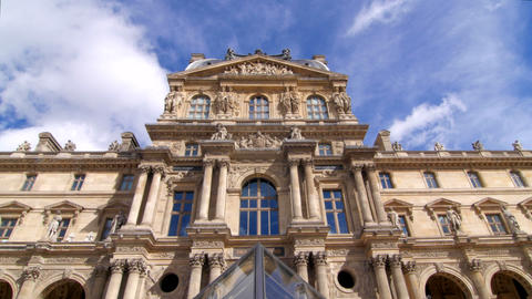 Louvre Building And Small Pyramid Pan stock footage