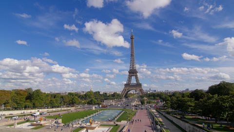 Tour Eiffel And Blue Sky Pan stock footage