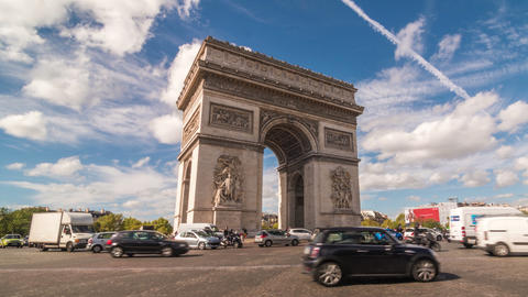 Time Lapse Of Arc De Triumph With Heavy Traffic stock footage